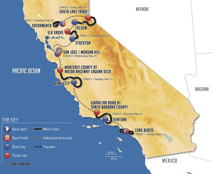 Tour de California 2018 - Recorrido