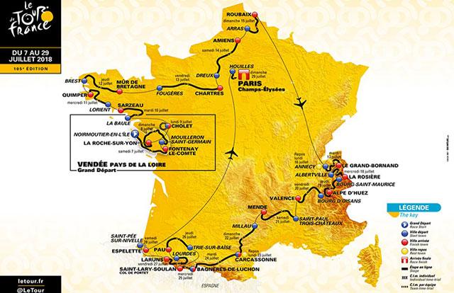 Recorrido del Tour de Francia 2018