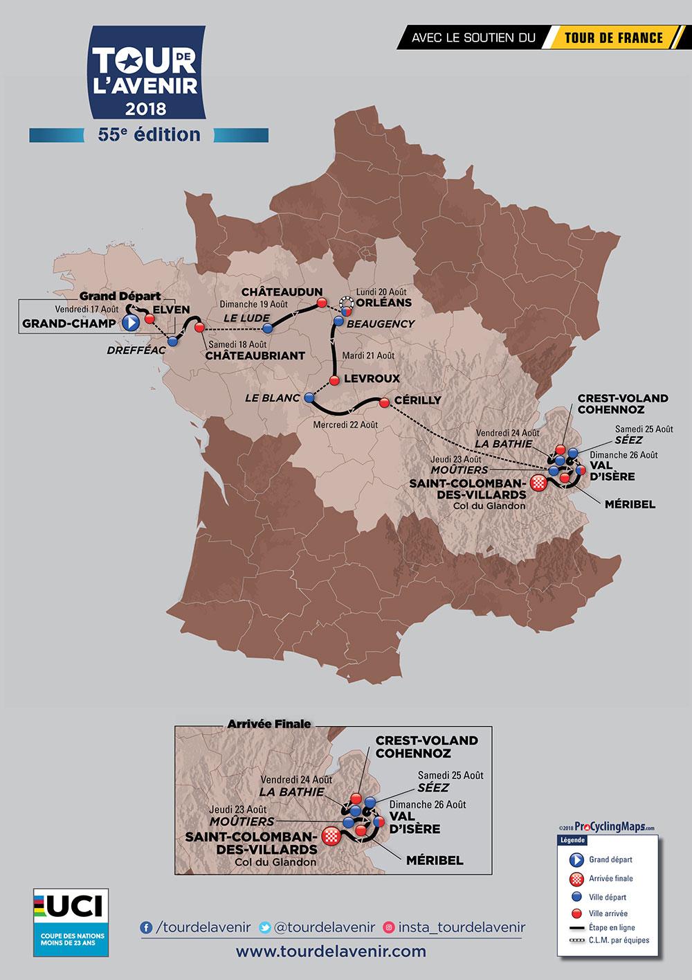 Recorrido del Tour de l'Avenir 2018