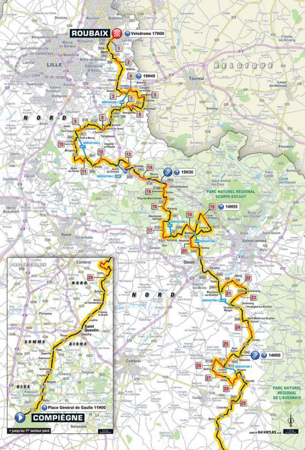 Paris-Roubaix 2019 - Recorrido