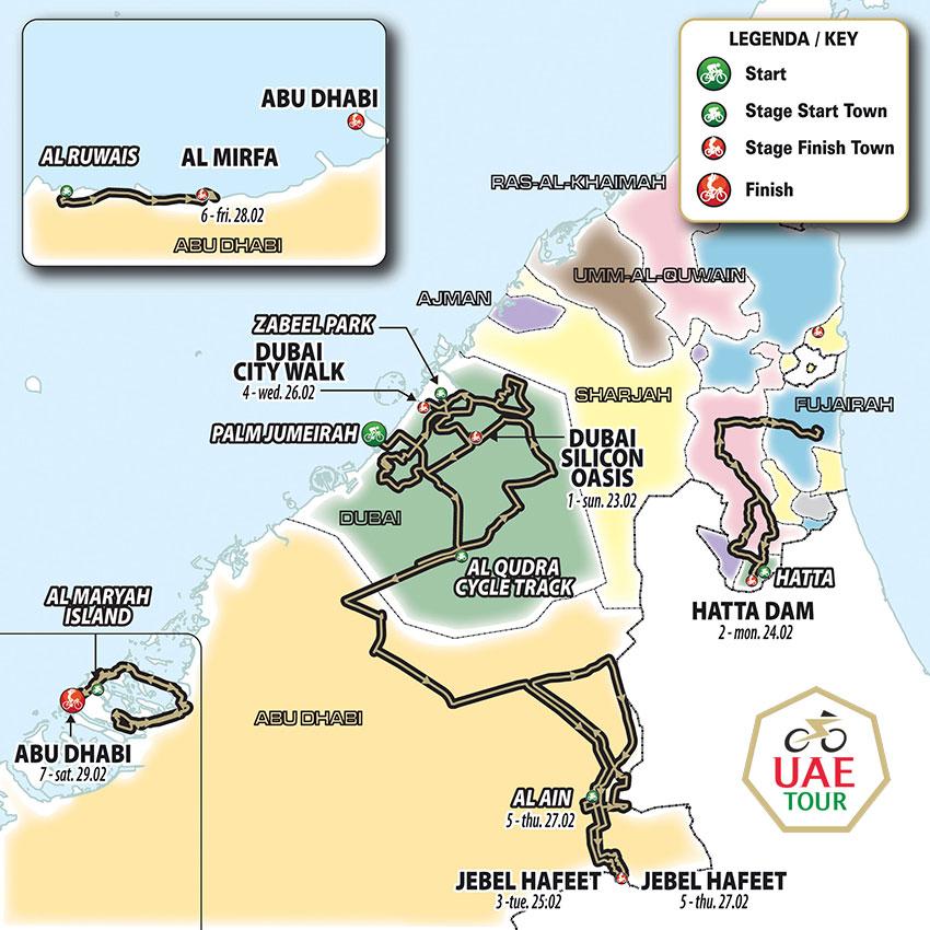 UAE Tour 2020 – Recorrido