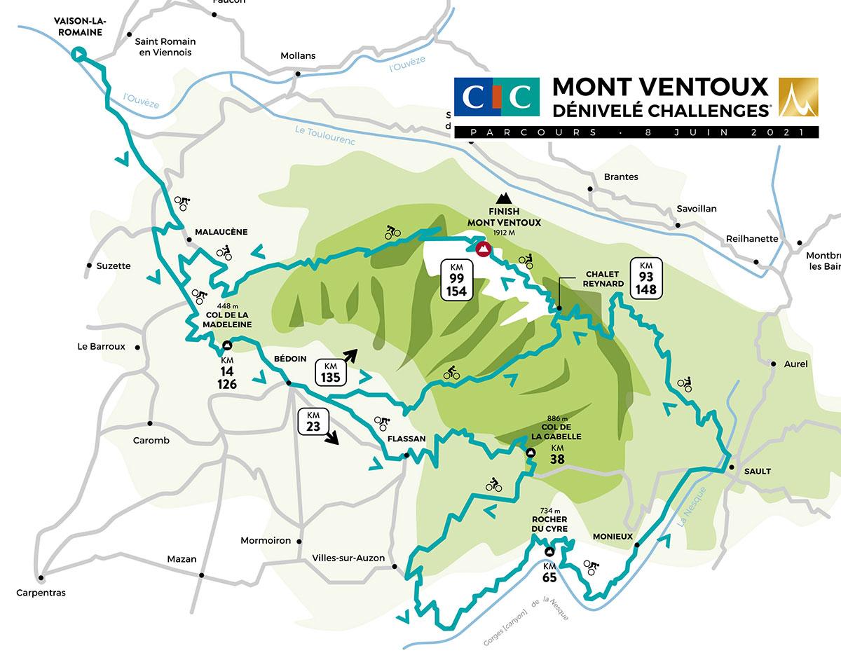 Recorrido de la Mont Ventoux Dénivelé Challenge 2021