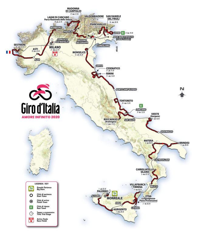 Giro de Italia 2020 - Recorrido