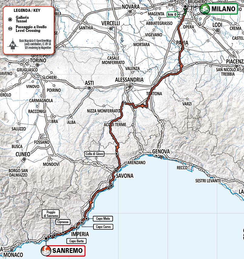 Milán-San Remo 2021 - Recorrido