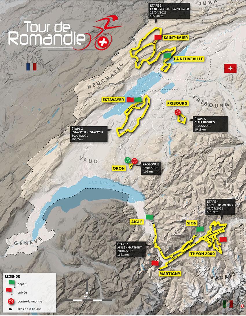 Recorrido del Tour de Romandía 2021