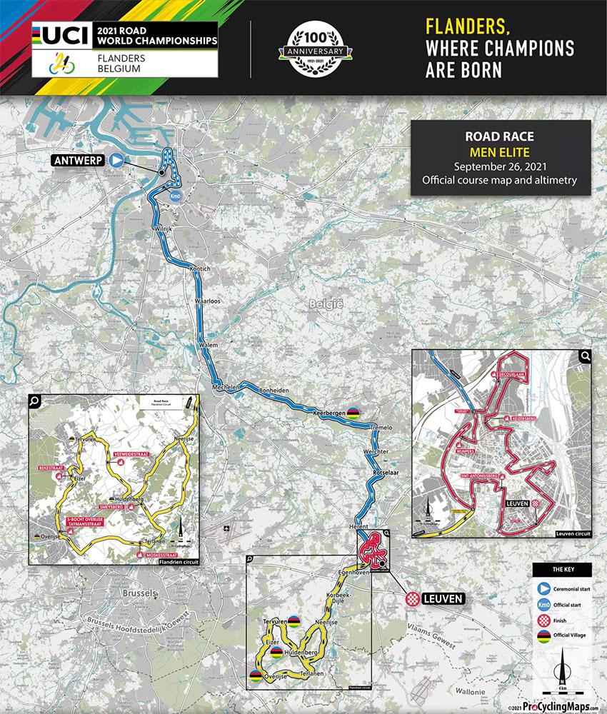 Recorrido de la Prueba de Ruta del Mundial de Ciclismo UCI 2021