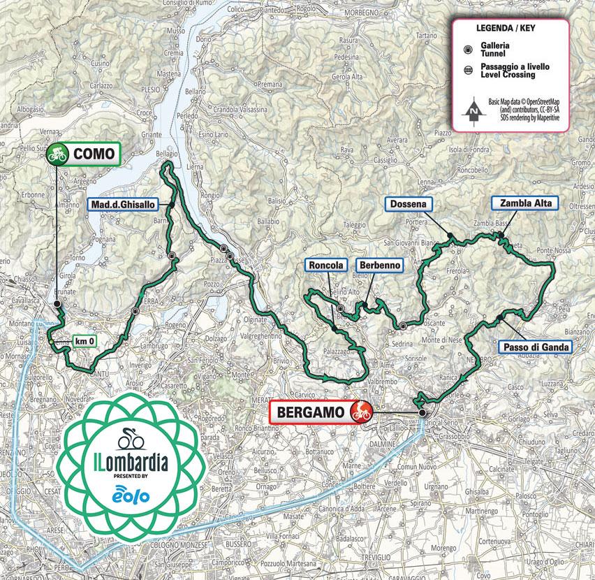 Recorrido del Giro de Lombardía 2021